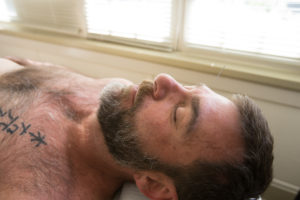 peaceful man after five element acupuncture session