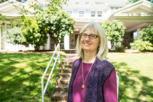 Elizabeth Zenger in front of NW Portland office