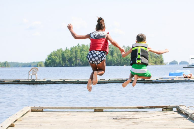 Kids Jumping Lake